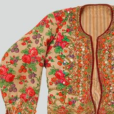 ++ POLISH EMBROIDERY ++ Womans katana jacket of printed soft wool tybet fabric. Decorated with haberdashery trimmings, buttons, sequins and beads. Trimmed with velvet. Fastened with hooks and eyes. Hand-sewn. Western Krakowiak Folk, Kraków-Bronowice Małe, 19th-20th c.