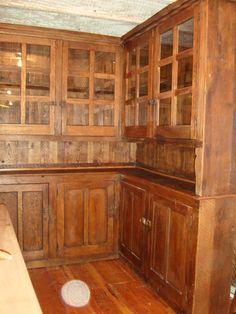 Antique Hoosier Type Solid Oak Corner Cupboard/Cabinet Bookcase Unit | eBay