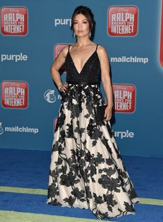 Ming-Na Wen Beaded Dress - Ming-Na Wen made a glamorous entrance in a monochrome Jovani gown with a beaded bodice and a floral skirt at the premiere of 'Ralph Breaks the Internet. Melinda May, Ming Na Wen, Plus Size One Piece, Marvel Women, Celebs, Celebrities, Pretty People, Glamour, Celebrity
