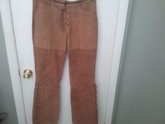 ME JANE Women's Brown Leather Pants Size 9 Lined Cowgirl  Or Indian  EUC. #MeJane #Pants