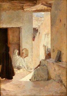 Algérie - Peintre Français Jules Charles Clément Taupin (1863–1932) , Huile sur toile , Titre: Joueur de tambourin dans une rue de la Casbah