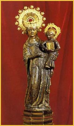 The Mother of God of Lluc, La Morenita (the Dear Dark One), Mallorca, Spain. She darkened while being hidden in the earth for centuries.