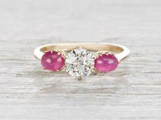 .83 Carat Edwardian Diamond and Ruby Ring