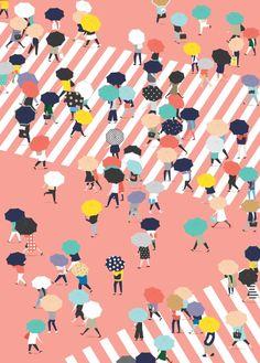 Swanderfulthings, umbrella, simple, design, colour, illustration, print, drawing, Tokyo