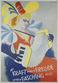 By Eugene Maria Cordier (1903-1974),   1 9 3 7, With power through joy in the carnival.