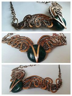 Copper wire fantasy necklace with natural by Tangledworld on Etsy