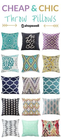 75+ designer styled throw pillows and covers under $20. Budget home decor, at its best.