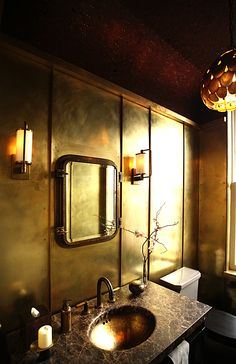 Central Park West Residence by Roman and Williams Buildings and Interiors - Amuneal fabricated and installed brass walls  #Design #BrassWall