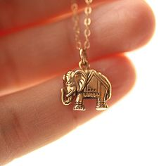 Elephant Necklace Gold Filled Chain Golden Bronze by BijouxbyMeg, $28.00