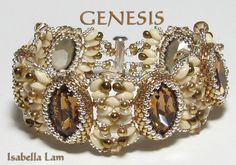 GENESIS Swarovski Oval Fancy Stones and SuperDuo Beadwork Bracelet tutorial instructions for personal use only. $14.00, via Etsy.