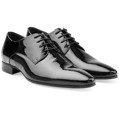 Dsquared2 Patent Leather Pointed Toe Brogues ($417) ❤ liked on Polyvore featuring men's fashion, men's shoes, men's oxfords y black