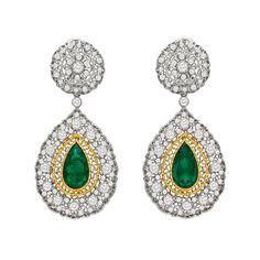 Estate Buccellati Emerald & Diamond Drop Earclips