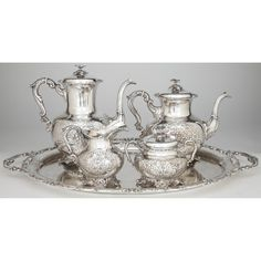 Sterling Silver Tea & Coffee Service, German Sold $3,600