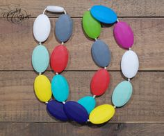 Multi-Color Flats Teething / Nursing Necklace