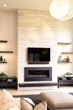 Maddox Stone Fireplace Mantel - Home living color wall treatment kitchen design House Design, Home Living Room, Room Design, Fireplace Surrounds, Living Room With Fireplace, Stone Fireplace Mantel, House Interior, Modern Fireplace, Living Room Tv