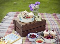 Lazy summer picnic :: strawberries :: teacups :: blankets :: pretty flowers :: cup cakes :: cherries :: jam jars :: old crockery :: enamel bowls :: a good book