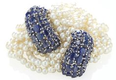 A PAIR OF CULTURED PEARL, SAPPHIRE, PLATINUM AND GOLD BRACELETS, BY SUZANNE BELPERRON