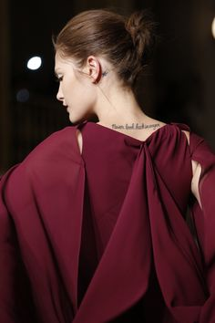 """Zac Posen Fall 2013 RTW, Look 36.  """"Don't look back in anger"""" tattoo on Catherine McNeil."""