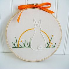 bunny at sunrise hand embroidery pattern by hooptdo on Etsy, $4.00