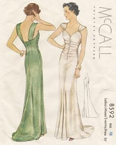 McCall 8592 | ca. 1936 Ladies' & Misses' Evening Dress by Lucien Lelong