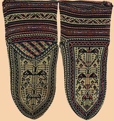 Antique Persian Silk Socks from Kurdistan. Qajar Dynasty     1795 -1925 A.D