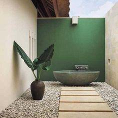 Private indoor-outdoor bath.