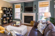 blue accent ideas that go well with brown couch in family rooms-diy - Google Search