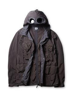 Company Frosted Nylon Cotton Goggle Hood Field Jacket in Charcoal Football Casuals, Men's Jackets, Field Jacket, Stone Island, Hooded Jacket, Charcoal, Men's Fashion, Raincoat, Masks