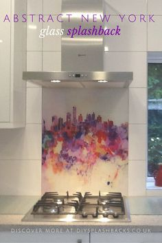 Kitchen Design made easy. Make a bold statement in an otherwise neutral space with an image splashback. This stunning abstract New York Skyline adds colour and interest. For more kitchen ideas visit http://www.diysplashbacks.co.uk/printed-glass-splashbacks/urban-splashbacks.aspx