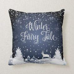 Shop Christmas Snowy Fairy Tale Fantasy Forest Winter Throw Pillow created by SOFIARTMEDIA. Blue Christmas Decor, Christmas Tale, Christmas Pillow, Christmas Decorations, Holiday Decor, Outdoor Christmas, Holiday Ideas, Christmas Stockings, Christmas Ornaments