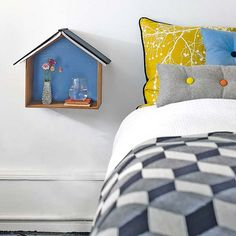DIY wooden bird house shelf (mount on the wall next to your bed for a mini bedside shelf / table!  Coolness!