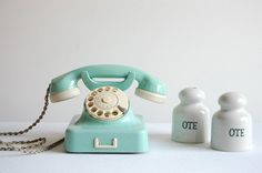 mint green vintage rotary telephone