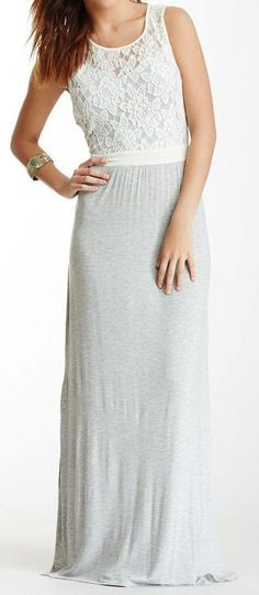 Grey Lace Maxi Dress //