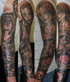 #tattoo #sleeve #girls #skulls #roses #west #london #ink
