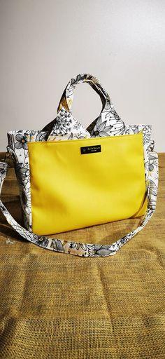 Sac Foxtrot jaune et blanc cousu par Rock'n'Couture - Patron Sacôtin