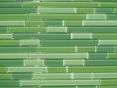 green horizontal glass tile, makes it look like bamboo which I love