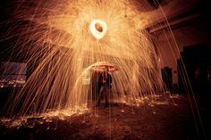 very creative light painting with steel wool