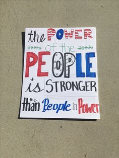 One person decided to make a sign explaining that the people who vote the people in power are stronger than the people on power. Protest Posters, Protest Art, Trump Protest, Protest Signs, Political Art, Political Rally, Union Strike, Picket Signs, March Signs