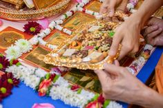 Swamishri offers thal to Thakorji Folded Hands, 30 September, 30th, Garland, In This Moment, Table Decorations, Garlands, Floral Crowns, Dinner Table Decorations