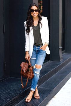 spring outfit, summer outfit, casual outfit, street chic style - white blazer, grey t-shirt, boyfriend jeans, brown heeled sandals, brown shoulder bag, brown sunglasses