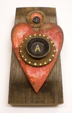 """A"" Number One Heart, mixed media assemblage by Clarissa Callesen"