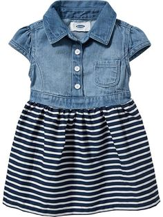 Denim-Top Dresses for Baby Product Image Little Fashion, Baby Girl Fashion, Kids Fashion, Toddler Fashion, Fall Fashion, Outfits Niños, Kids Outfits, Little Girl Dresses, Girls Dresses