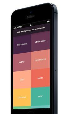 Discover new adventures via this grid layout & flat UI iOS app design