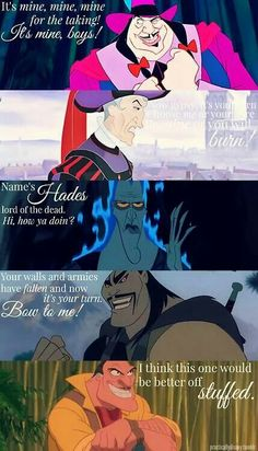 Greedy Disney villains and their quotes.
