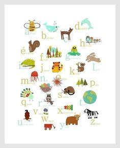 French Alphabet Print 11x14 Nursery Wall Art par ChildrenInspire