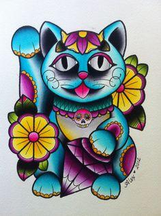 Original Alex Strangler Manekineko Lucky Cat Painting
