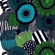 Another Marimekko pattern - I LOVE them ALL! Siirtolapuutarha cotton fabric by Marimekko Textures Patterns, Fabric Patterns, Print Patterns, Floral Patterns, Design Textile, Fabric Design, Green Tablecloth, Oilcloth Tablecloth, Round Tablecloth