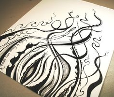 Wisp . Original Pen Drawing . Black and White Art by blueskybeads on etsy