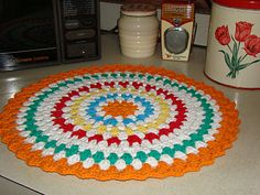 Crochet place mats  (Resize and add edging for stool cover)