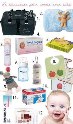 Les essentiels pour sortir avec bébé : http://drolesdemums.com/bebe-0-3-ans/puericulture/les-indispensables-pour-sortir-avec-bebe
